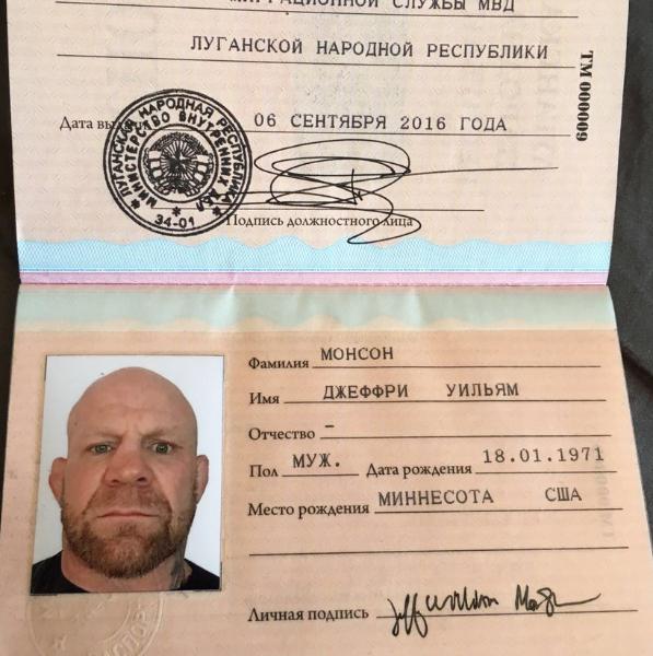 """Раніше Монсон отримав """"громадянство ЛНР"""" /twitter.com/ChristopherJM"""