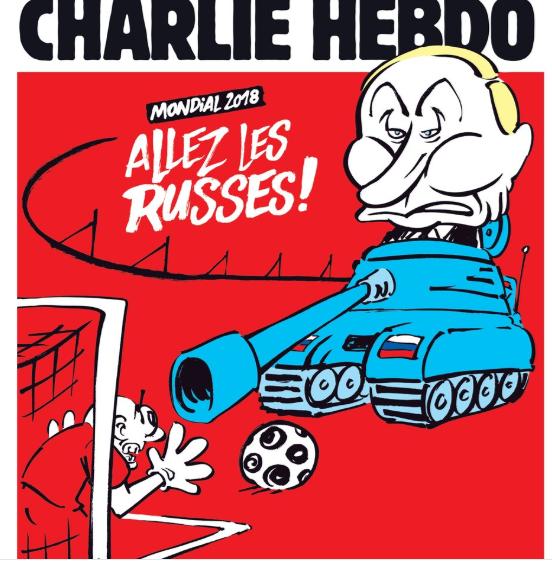"""Напис на карикатурі говорить: """"Вперед, росіяни!"""" / Charlie Hebdo"""