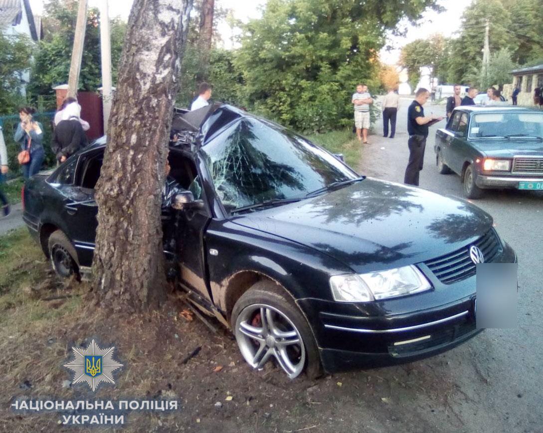 """Водій """"Volkswagen Passat"""" не впорався з керуванням і наїхав на дерево / фото rv.npu.gov.ua"""