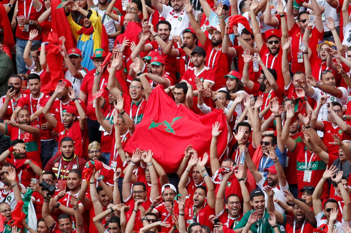 Фанаты сборной Марокко на стадионе Лужники в Москве / Reuters