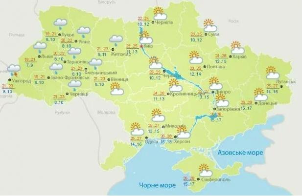 Прогноз погоди в Україні на 23 червня від Укргідрометцентру