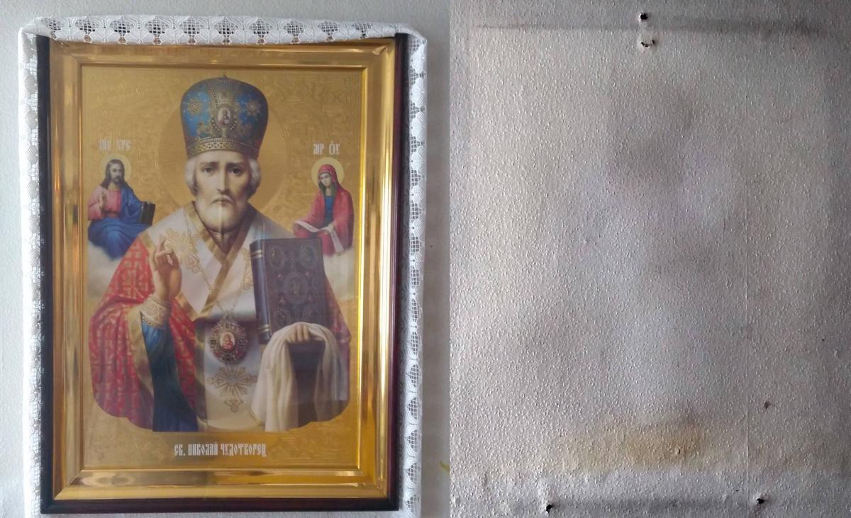 На стене храма УПЦ отобразилась икона святителя Николая / hramzp.ua