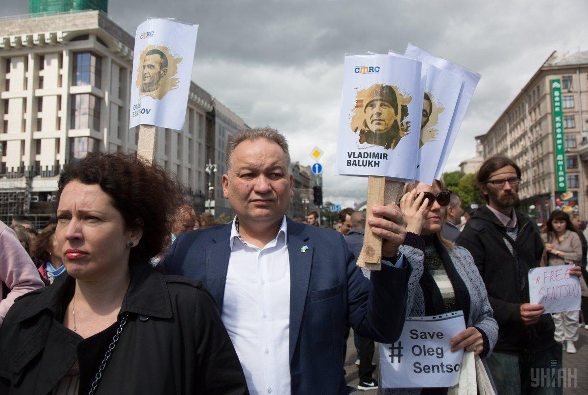 A rally held in Kyiv to support Ukrainian prisoners Sentsov, Balukh and others / Photo from UNIAN