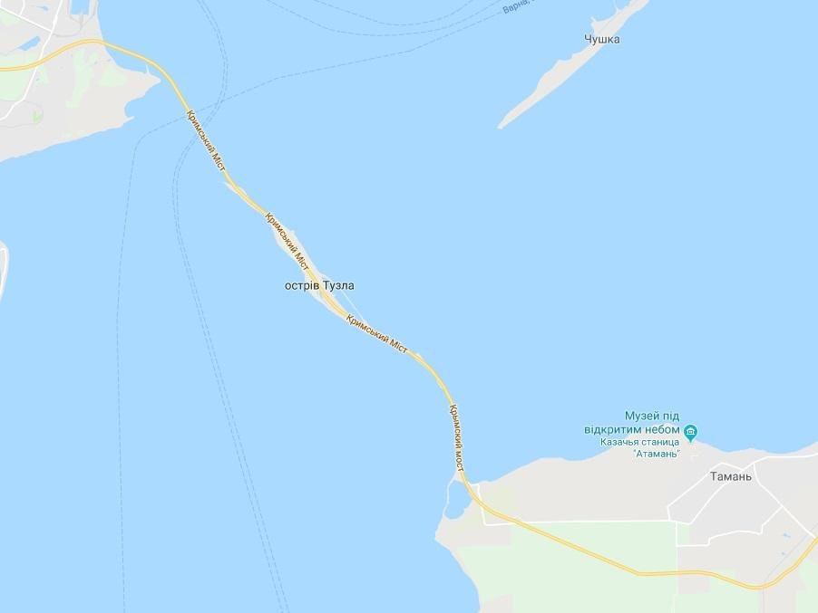 На карте Google появилось название Крымского моста на украинском языке / Скриншот