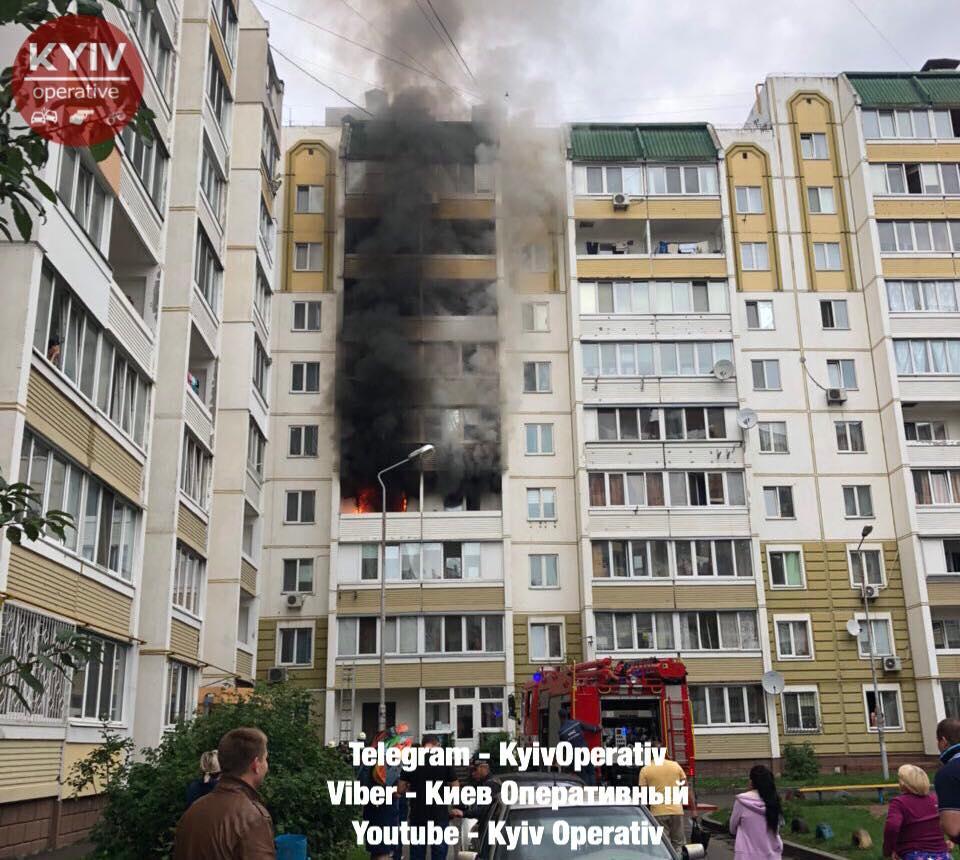 У Вишневому спалахнула багатоповерхівка / фото Київ оперативний