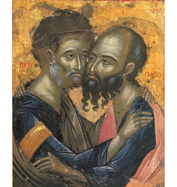 """Православні відзначають деньПетра і Павла / Фото: Ікона """"Петро і Павло"""", монастир Каракал, Афон"""