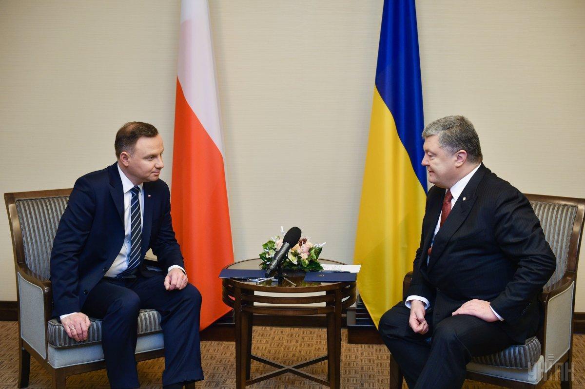 Петро Порошенко провів у Брюсселі зустріч з польським лідером Анджеэм Дудою/ Ілюстрація УНІАН