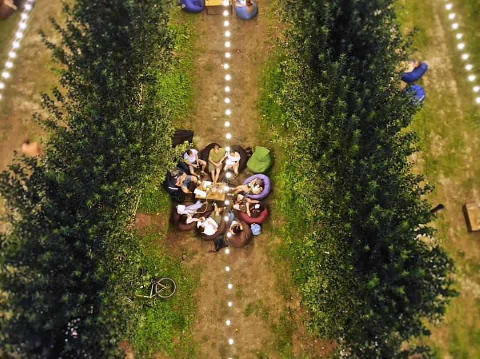 Анатолий Тапольский приглашает всех в сад гамаков среди яблонь / Фото facebook.com/Garden.of.hammocks/