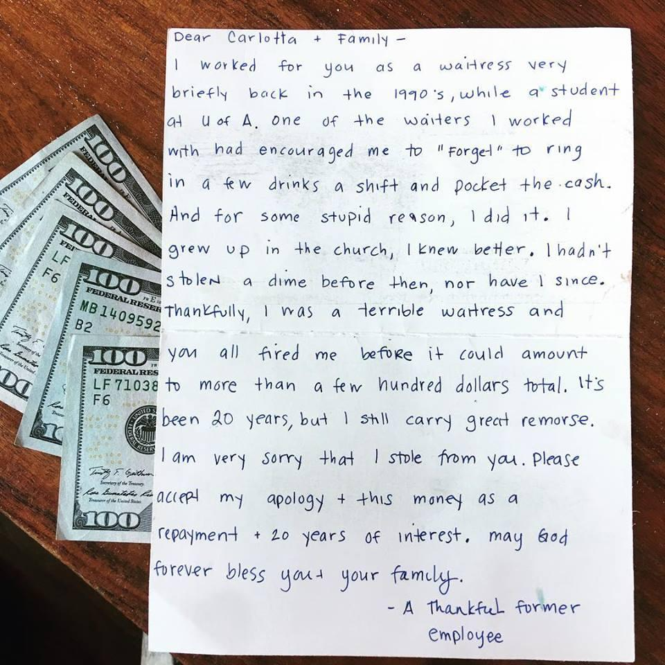 Письмо бывшей официантки, которая воровала деньги в ресторане Карлотты Флорес / Facebook