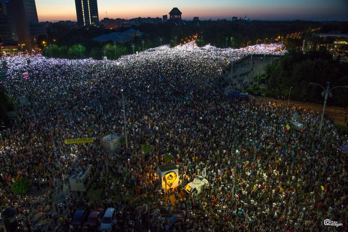 ВРумынии участники антикоррупционных протестов провели наулице всю ночь