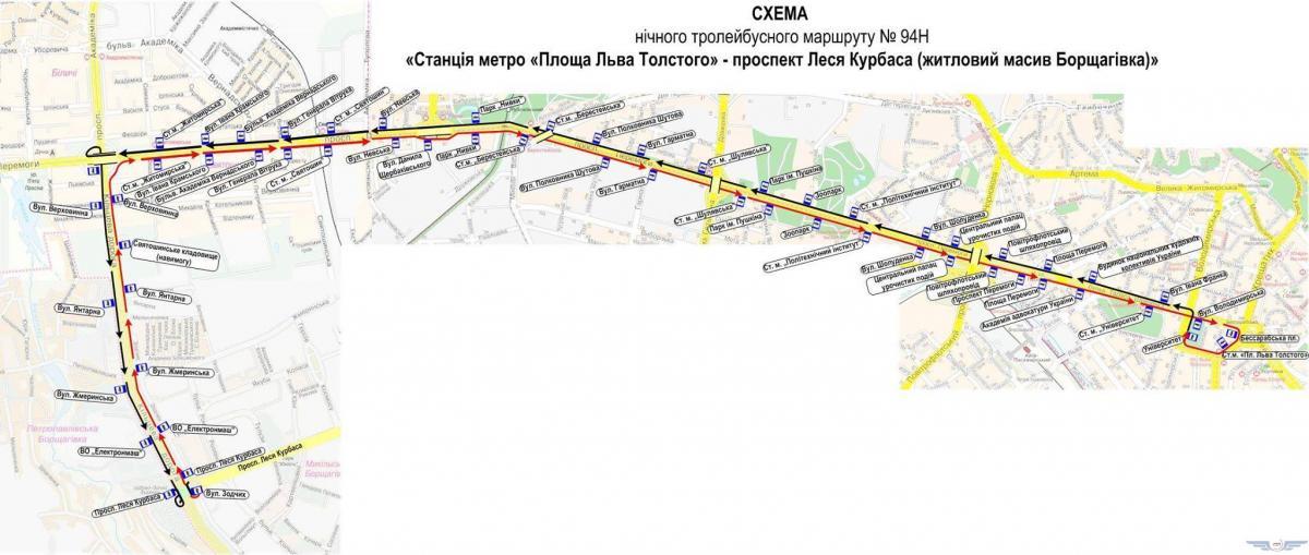 Схема тролейбусного маршруту №94Н / kpt.kiev.ua