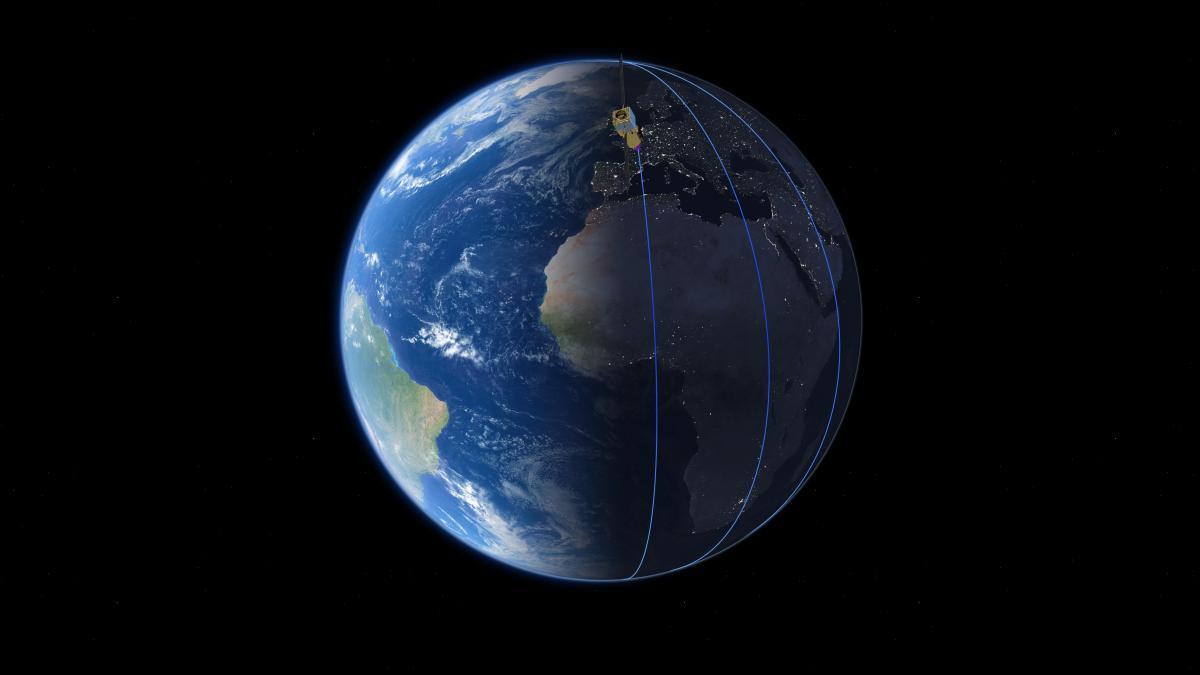 Супутник буде постійно летіти по лінії розділу між освітленою і темною стороною планети / фото ESA/ATG medialab