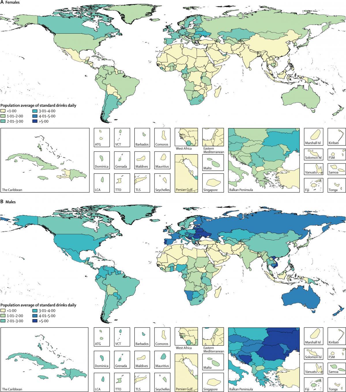Розподіл кількості доз щоденної випивки (для жінок (а) та чоловіків (B)) / thelancet.com