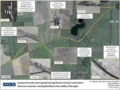 Вантажівки перетнули кордон з боку РФ / фото twitter.com/UKRinOSCE