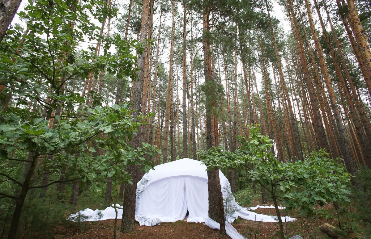 «Зрительный зал» — шатер, напоминающий крохотный свадебный – белоснежный, чистый, воздушный – инородное тело среди дубов и сосен / фото УНИАН