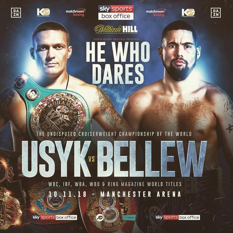 Поединок Усика против Белью состоится 10 ноября в Манчестере / facebook.com/akrassyuk