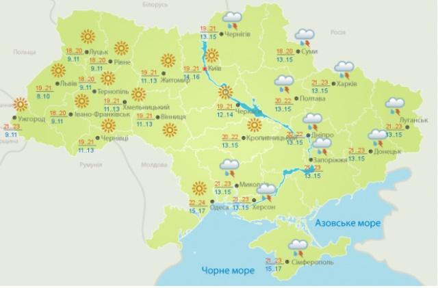 Прогноз погоды на 16 сентября от Укргидрометцентра
