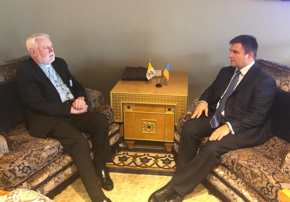 Климкин встретился ссекретарем по межгосударственным отношениям Святого Престола Полом Ричардом Галлахером / фото mfa.gov.ua