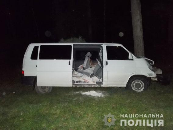 Микроавтобус выскочил на обочину и врезался в дерево фото: Нацполиция
