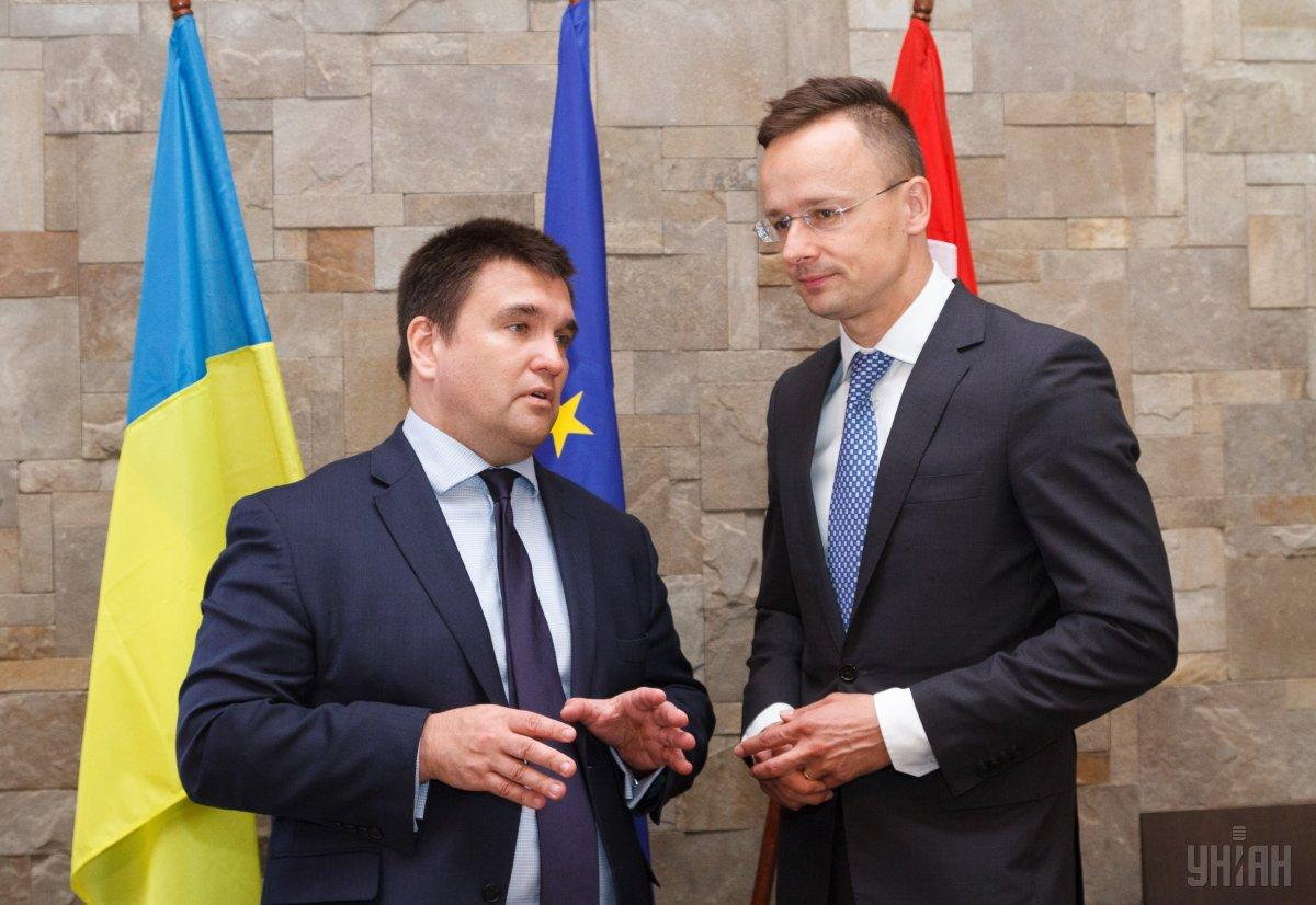 Главы МИД Украины Павел Климкин и Венгрии Петер Сийярто / фото УНИАН