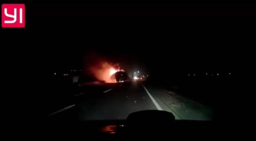 Під Львовом згорів автобус з туристами / Скриншот з відео - Facebook, Igor Zinkevych