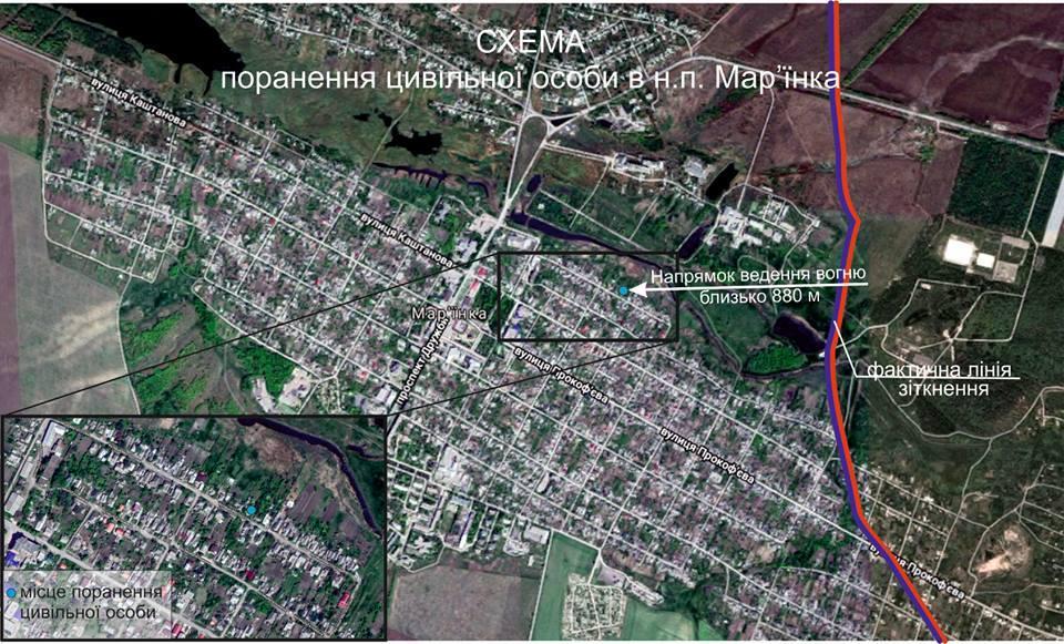 Окупанти знову обстріляли Мар'їнку / фото Штаб ООС