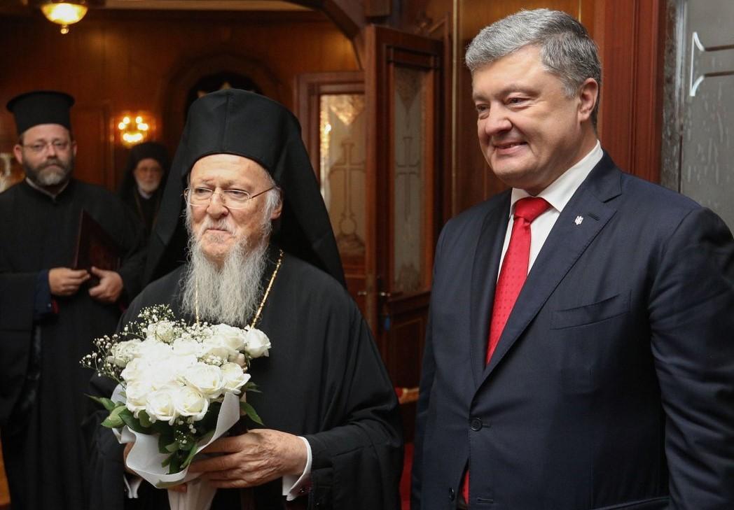 Варфоломей поблагодарил Порошенко за передачу Вселенскому патриархату Андреевской церкви \ фото УНИАН