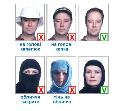 Из требований к фотографированию согласно ICAO / umma.in.ua