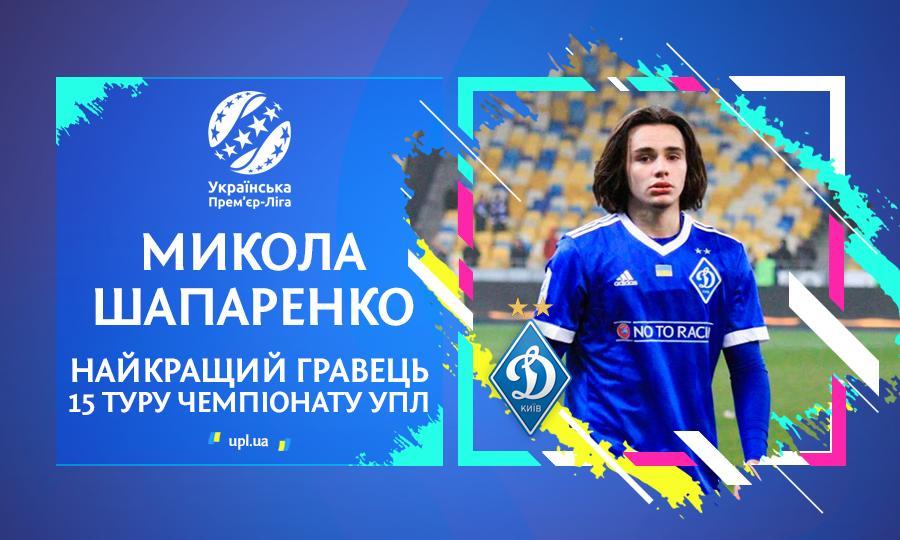Шапаренко признан лучшим игроком тура / upl.ua