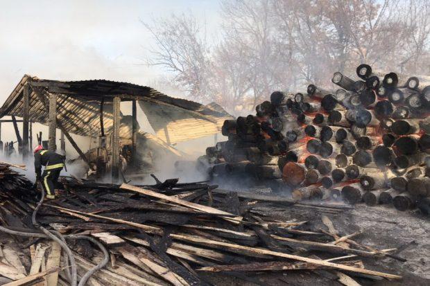 В Харькове горела лесопилка / фото kharkiv.dsns.gov.ua