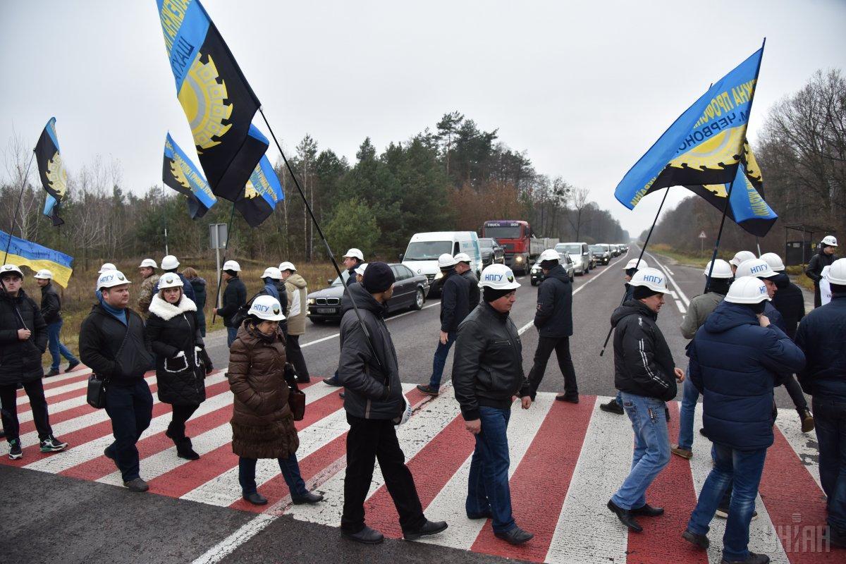 Вгосударстве Украина протестующие шахтёры перекрыли дорогу наПольшу