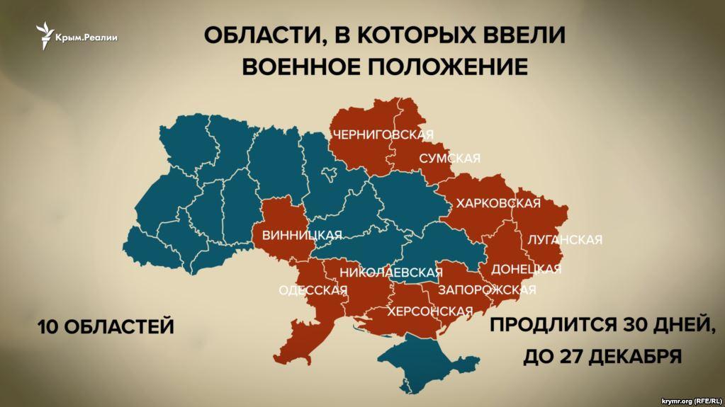 Военное положение введено в ряде областей / фото krymr.com