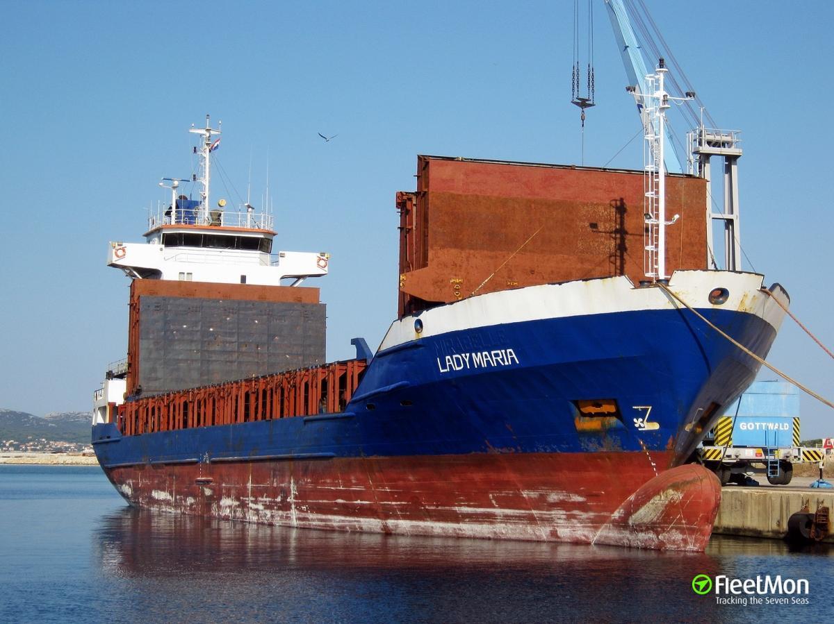 """У грузовогокорабля""""Lady Maria"""" повредился винт двигателя / фото Fleetmon"""