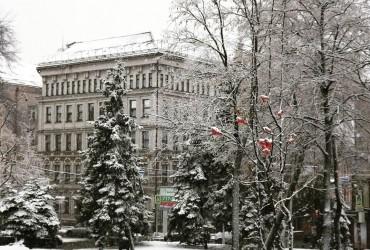 Дніпро засипає снігом (фото, відео)