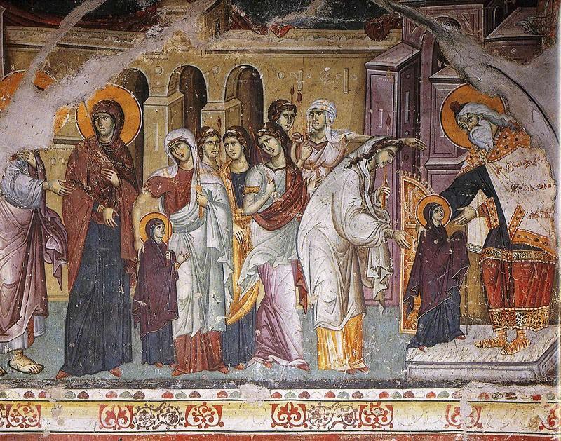 Фото: Введення у храм Пресвятої Богородиці. Панселін, XIII століття. Карея, Афон
