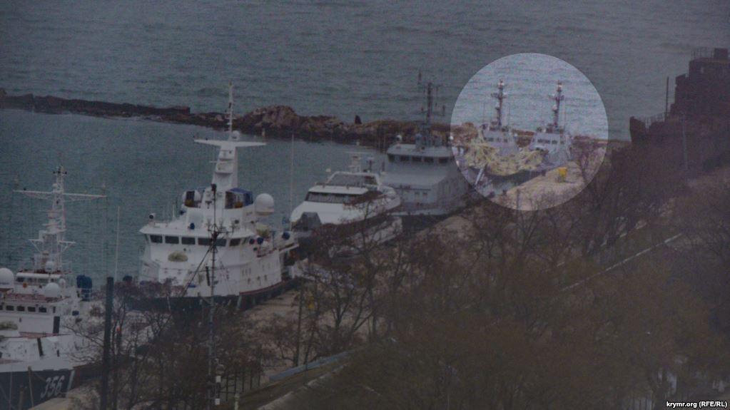 Журналисты показали, где сейчас находятся захваченные Россией катера ВМС Украины / фото - krymr.org (RFE/RL)