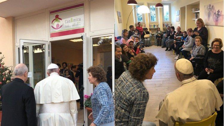 """Папа відвідує громади """"Казамика"""" і """"Міст і дерево"""" / vaticannews.va"""