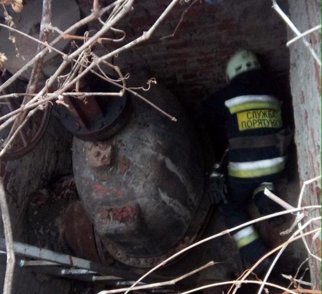 Один из спасателей спустился по лестнице вниз и достал животное из ловушки