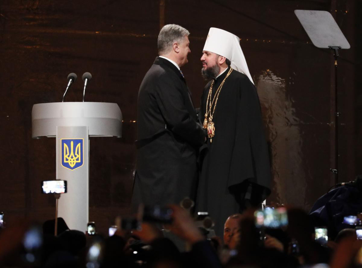 Петро Порошенко і митрополит УПЦ КП Епіфаній \ REUTERS