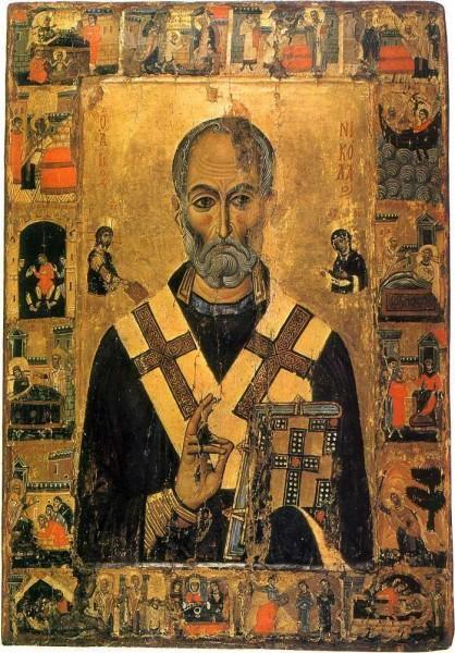 Свт. Николай с житием. 1-я половина XIII в. Монастырь св.Екатерины, Синай