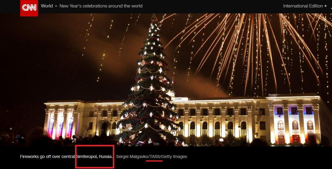 "A CNN photo captioned ""Fireworks go off over central Simferopol, Russia"" / twitter.com/UKRintheUSA"