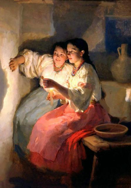 """В святочные дни девушки гадали на суженого / М.Пимоненко. """"Святочное гадание"""". 1888"""