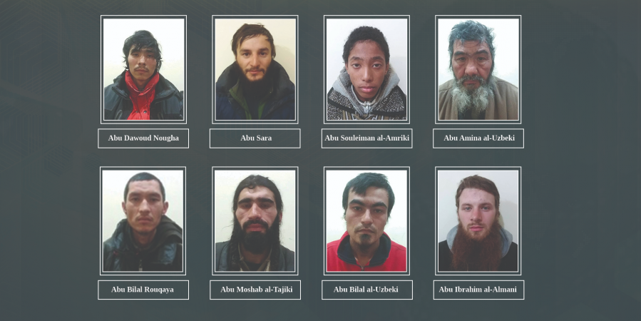 Zarmanbetov (left, top row) is among eight ISIS fighters captured by YPG / Photo from ypgrojava.org