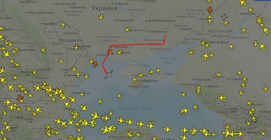 RQ-4B Global Hawk во время полета вблизи оккупированного Крыма