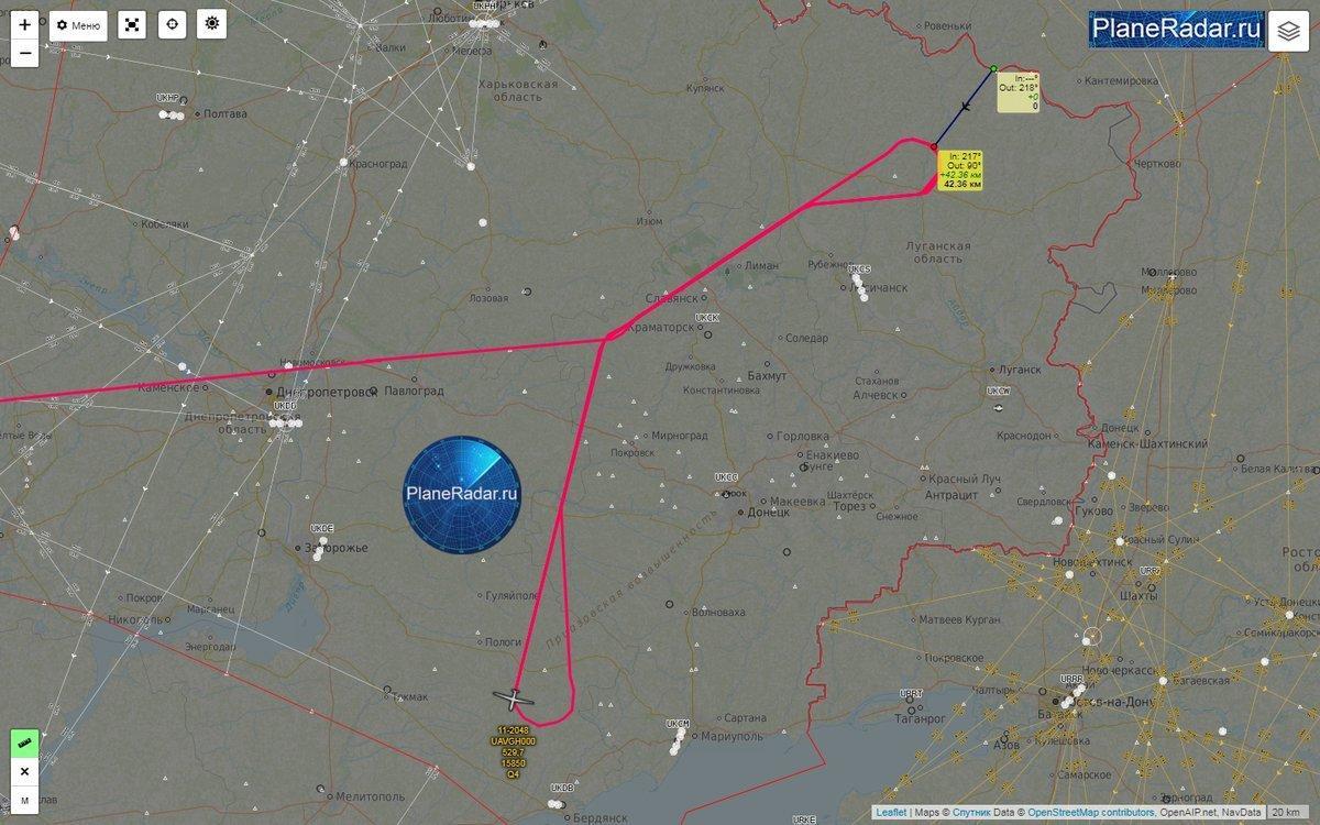 RQ-4B Global Hawk во время полета на Донбассе