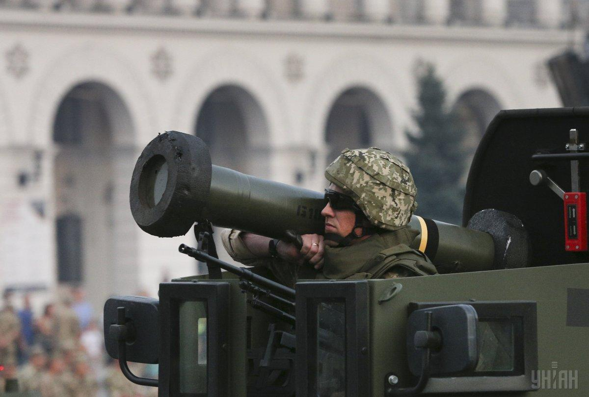 Javelin launcher held by a Ukrainian soldier during an Independence Day parade in Kyiv in 2018 / Photo from UNIAN