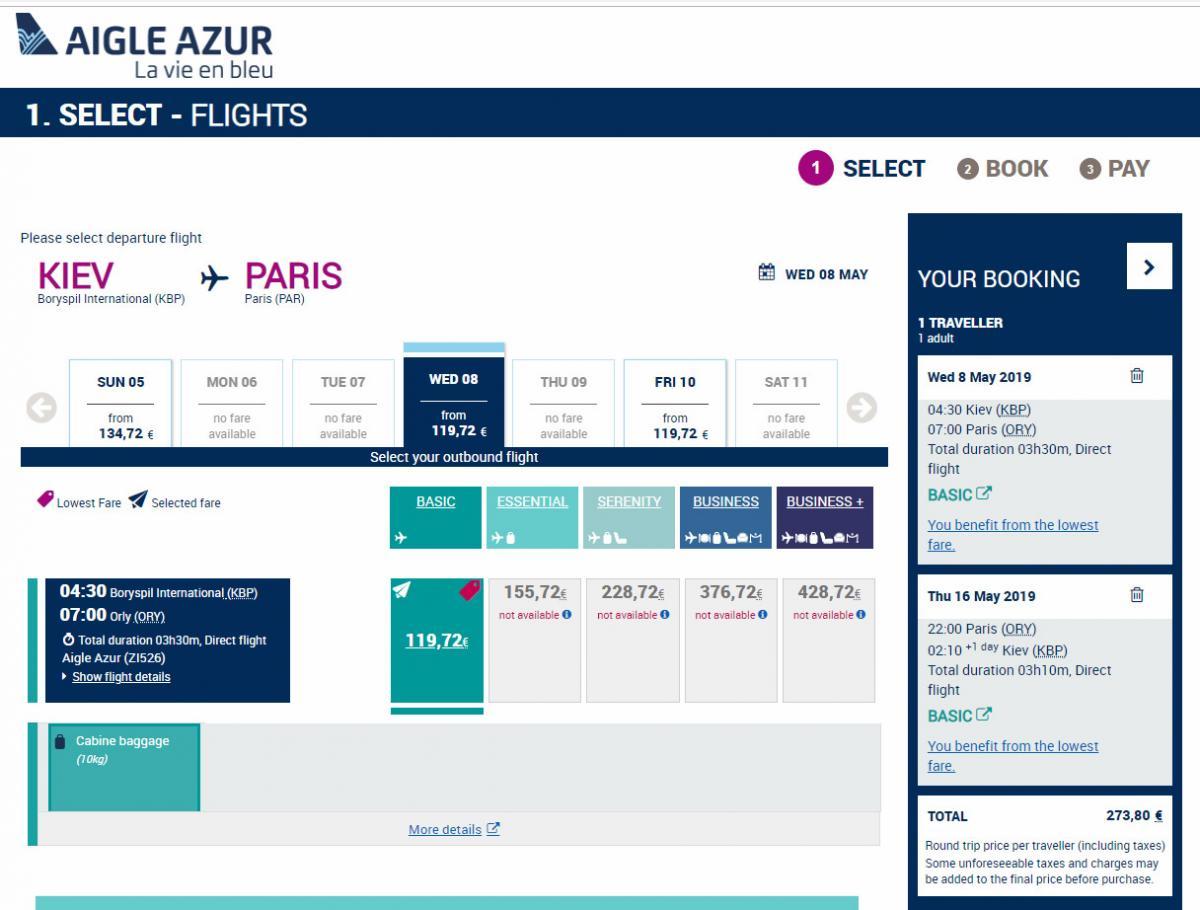 Ціна квитків починається від 274 євро в обидві сторони / скріншот avianews.com