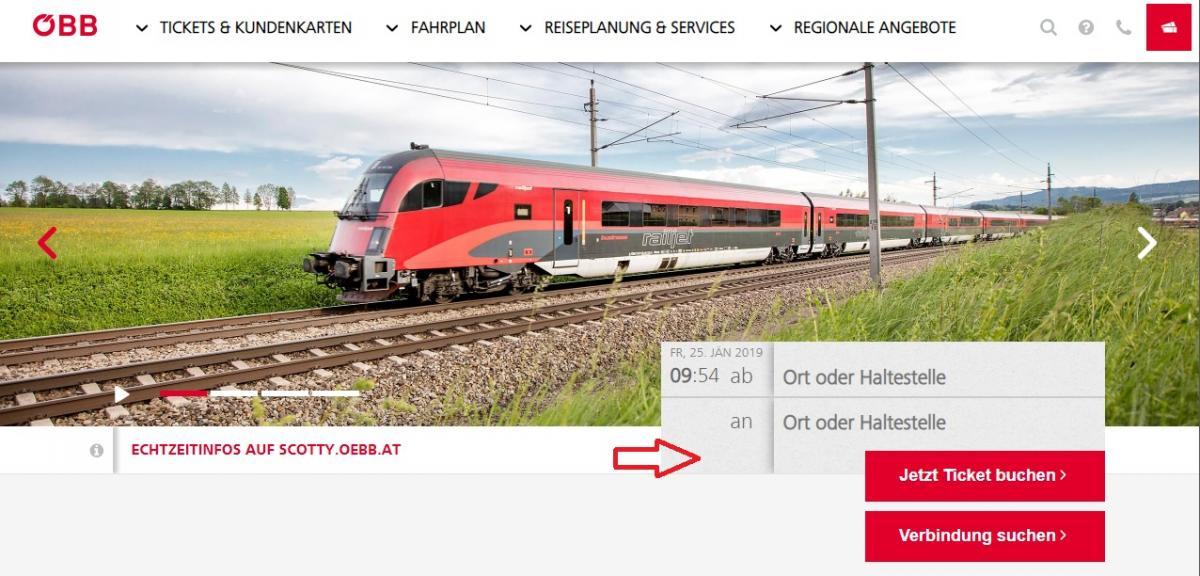 Сайт австрийских железных дорог ÖBB очень простой в использовании / Скриншот