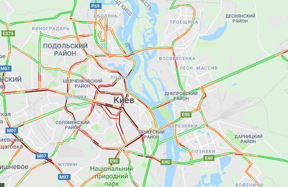 Пробки в Києві / google.com/maps
