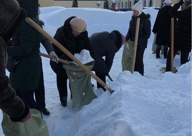 Саратовских учителей выгнали на мороз собирать снег в мешки / Фото: Twitter